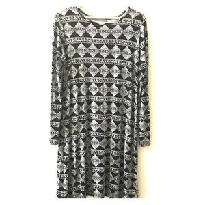 Loveappella Long Sleeve Black Diamond Print Dress